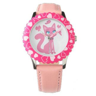 Gato y mariposas rosados lindos del dibujo animado relojes