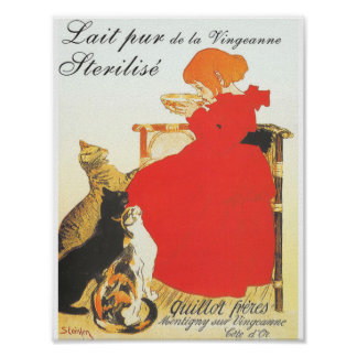 Gato y niño del vintage de Théophile Steinlen Posters