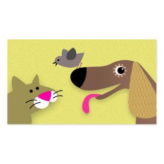 Gato y pájaro - amarillo del perro plantillas de tarjetas personales