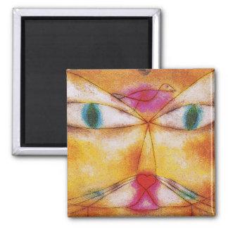 Gato y pájaro - arte abstracto - Paul Klee Imán Cuadrado