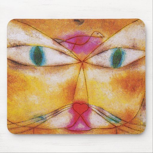 Gato y pájaro - arte abstracto - Paul Klee Alfombrillas De Ratón