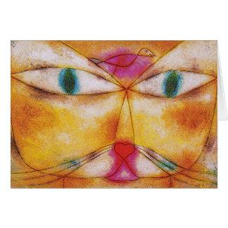Gato y pájaro - arte abstracto - Paul Klee Tarjeta De Felicitación