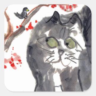 Gato y pájaro de la flor de cerezo pegatina cuadrada