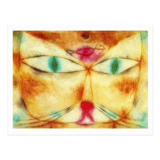 Gato y pájaro de Paul Klee Postal
