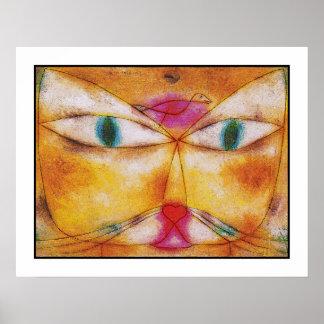 Gato y pájaro - impresión del poster del arte abst