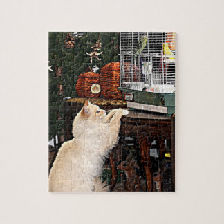 Gato y pájaros rompecabeza con fotos