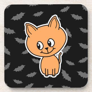 Gato y palos anaranjados posavaso