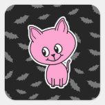 Gato y palos rosados calcomanía cuadrada personalizada