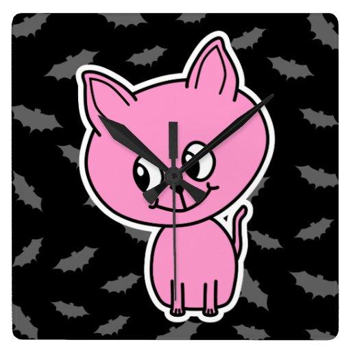 Gato y palos rosados relojes