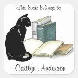 Gato y pegatina personalizados del Bookplate de