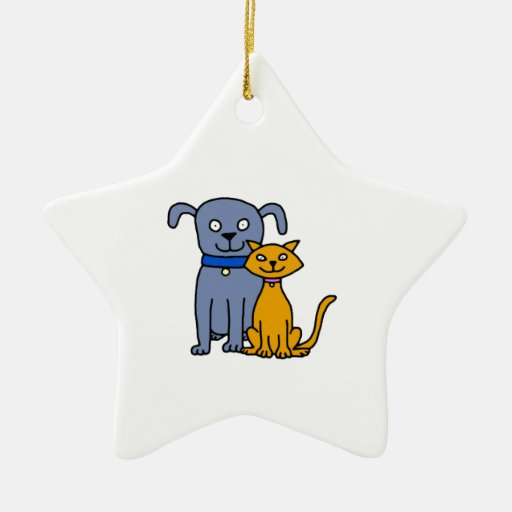 Gato y perro adorno navideño de cerámica en forma de estrella