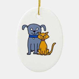 Gato y perro adorno navideño ovalado de cerámica