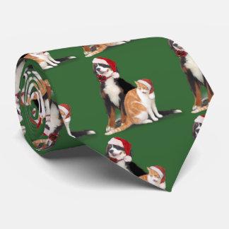 Gato y perro con los gorras de Santa Corbata Personalizada