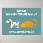Gato y perro del dibujo animado de la caridad de l posters