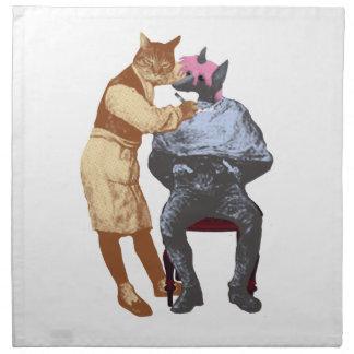 Gato y perro del peluquero del vintage servilleta de papel