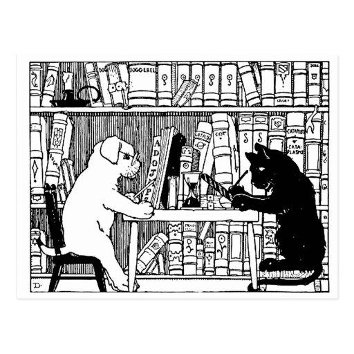 Gato y perro en la biblioteca tarjeta postal