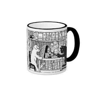 Gato y perro en la biblioteca tazas de café