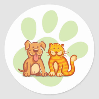 Gato y perro pegatina redonda