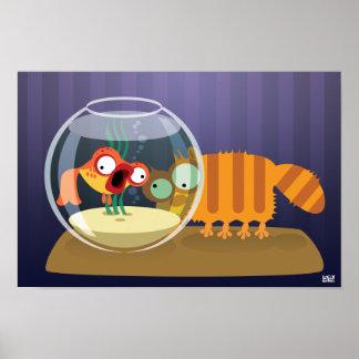 Gato y pescados divertidos impresiones