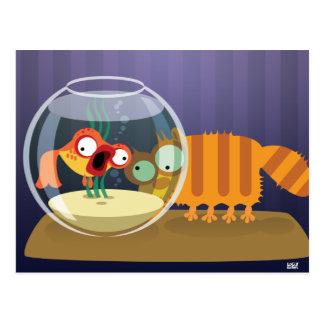 Gato y pescados divertidos postal
