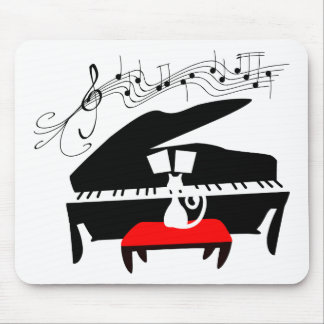 Gato y piano mouse pads