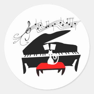 Gato y piano etiquetas redondas