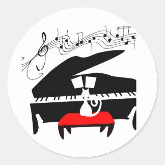 Gato y piano pegatinas redondas