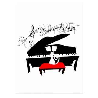 Gato y piano postal