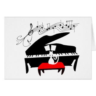 Gato y piano tarjeta de felicitación