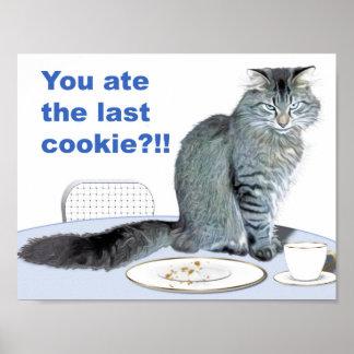 Gato y placa vacía de la galleta póster