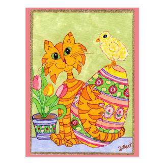 Gato y polluelo con el arte popular Pascua del Postales
