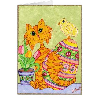 Gato y polluelo con el arte popular Pascua del Tarjeta De Felicitación