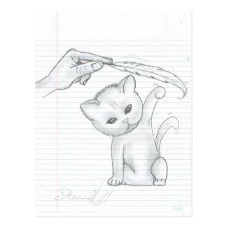 Gato y postal de la pluma