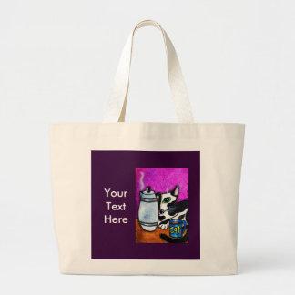 Gato y pote del café bolsa tela grande