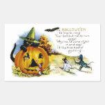 Gato y ratón de Halloween Pegatina Rectangular