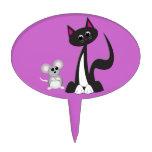 Gato y ratón del dibujo animado figura para tarta