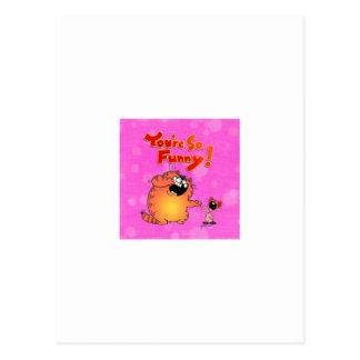 Gato y ratón divertidos del dibujo animado tarjetas postales
