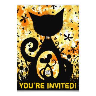 """Gato y ratón - el fiesta invita invitación 5"""" x 7"""""""