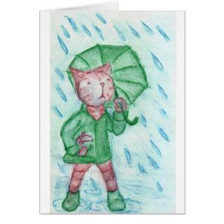 Gato y ratón en la lluvia felicitacion