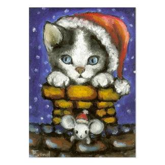 Gato y ratón en los gorras de Santa Tarjetas De Visita Grandes