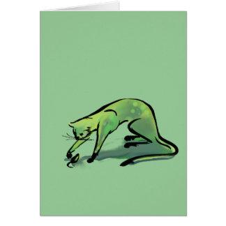 Gato y ratón Gris-Verdes Tarjeta De Felicitación