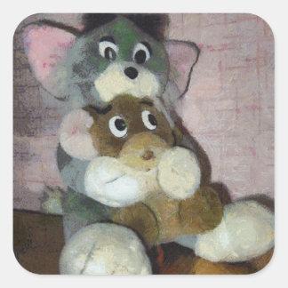 Gato y ratón pegatina cuadrada