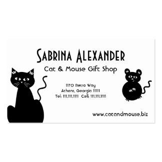 Gato y ratón retros lindos del dibujo animado plantilla de tarjeta de visita
