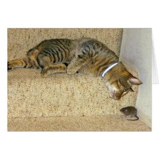 Gato y ratón sabroso tarjeta de felicitación