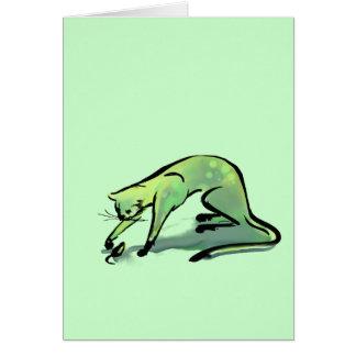 Gato y ratón verdes claros tarjeta de felicitación