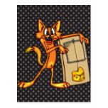 Gato y ratonera del dibujo animado postal