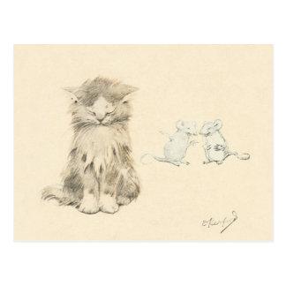 Gato y ratones postales