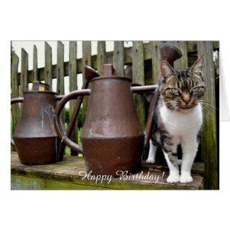 Gato y regaderas/tarjeta de cumpleaños tarjeta de felicitación