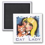 Gato y señora rubia Fridge Magnet Iman Para Frigorífico