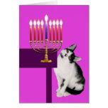 Gato y tarjeta rosados de Menorah Jánuca